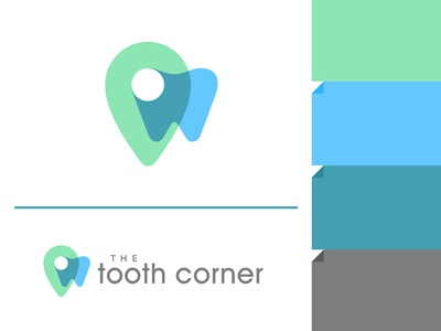 The Tooth Corner doctor network health navigation location pin corner tooth logo
