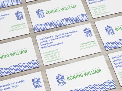 KWS green blue sailing yacht sea ship ocean king wave crown business card logo