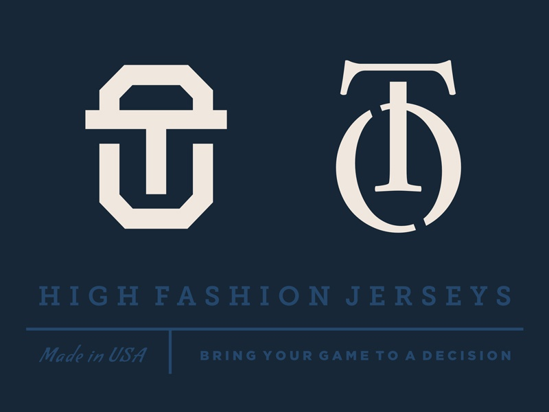 OT Monograms shadow cut sports sophisticated elegant high wear fashion initials monogram logo
