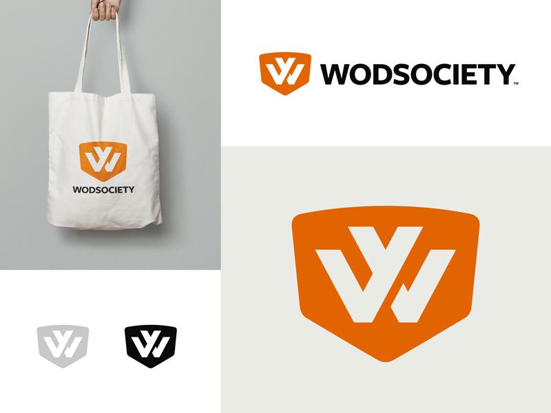 Wodsociety workout gym health shop online orange initials crossfit fitness sports shield logo