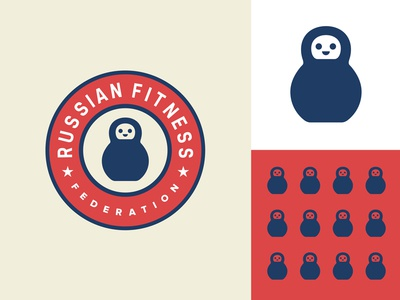 Russian Fitness Federation russia matryoshka health star doll workout kettlebell fitness gym sports emblem logo