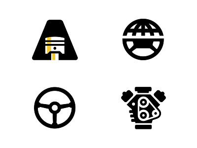 Autonado Logo Options network globe wheel steering engine icon piston vehicle industry car logo