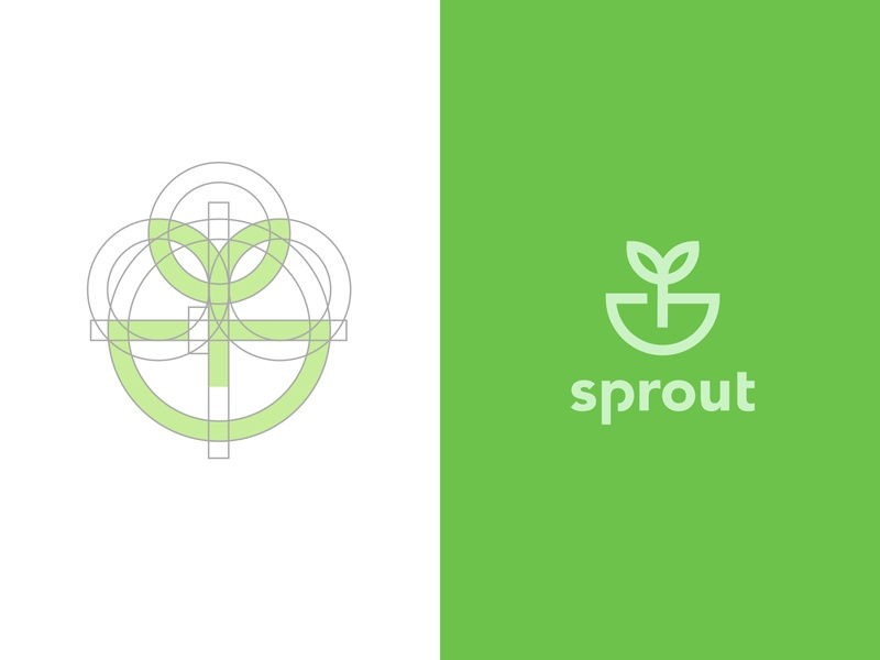 Sprout Design growth seed grid leaf mooline web construction sprout flower plant nature logo