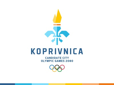 Koprivnica Olympics 2080 colorful rings fleur flame torch city candidate olympics sports logo
