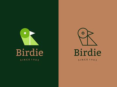 Birdie monoline tradition flag green sports golf birdie bird animal logo