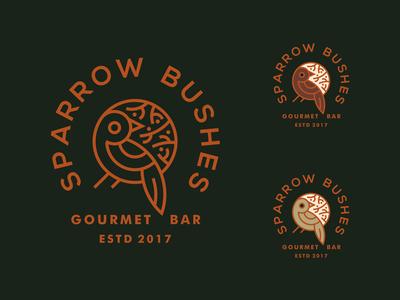 Sparrow Bushes Bar emblem crest pin monoline bush nature sparrow bird restaurant bar gourmet logo