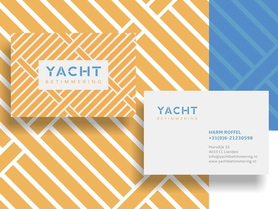 YB Cards blue orange sea ocean sailing yacht deck stationery print business card logo