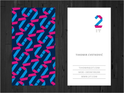 2IT Business Card print stationery business card card initials pattern