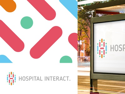 HI medical connection network colorful multicolor initials dna cell body cure health logo