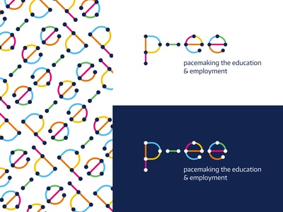 EURO P-EE pace connection dot line colorful multicolor employment education network logo