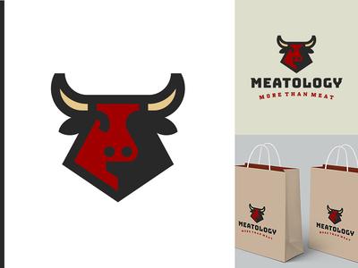 Meatology Logo 2 head bag horn chain class bull animal luxury food meat logo