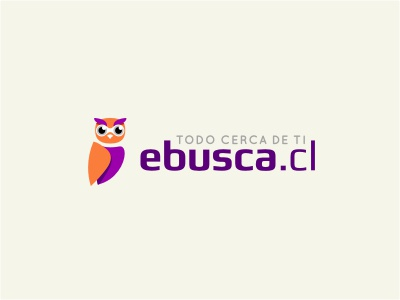 Ebusca logo bird animal owl purple orange eyes search hoot smart wise