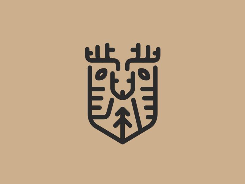 Deershield antlers monoline pine tree buck deer forest animal emblem shield logo