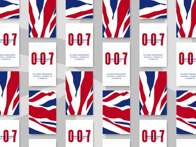 James Bond Business Card blue red business card bond james 007 agent secret flag uk