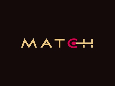 Match wordmark fusion shadow red beige ring fire match logotype logo