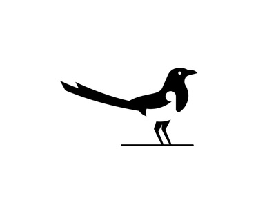 Magpie bar food fashion sports negative white black magpie bird animal logo