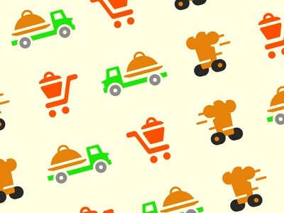 Food Delivery System pattern colorful tray platter pot hat chef cart truck delivery food logo
