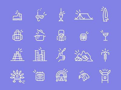 Tripicons food outdoor culture historic travel trip peru monoline set icons icon