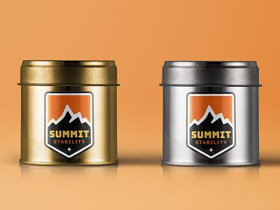 Summit Equipment peak packaging can emblem badge shield mountain outdoors summit equipment photography logo