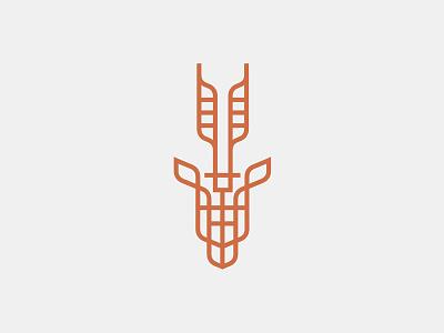 Impala gazelle antlers copper monoline antelope impala animal head logo