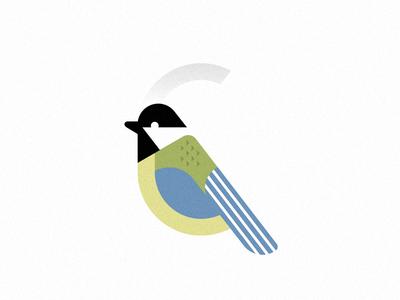 Chickadee stripe initials negative collage colorful arbor chickadee bird animal logo