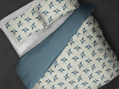 Swallow Bedding pillow bedding linen negative green fly nature pattern textile fashion swallow bird