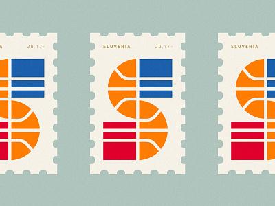 Slovenia 2017 Eurobasket Champions gold victory action initials ball slovenia champion basketball sports post stamp logo
