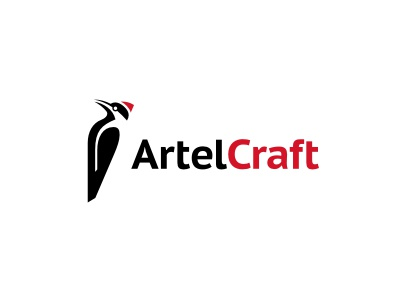 Artel Craft logo bird animal woodpecker wood floor black red craft