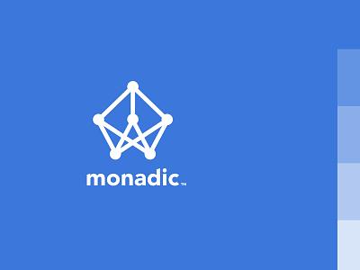 Monadic dot monoline blue structure neural learning network grid consulting software monadic logo