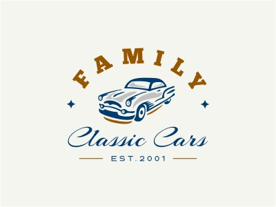 FCC logo crest vintage retro classic car silhouette star blue gold shade wheels 3d automotive