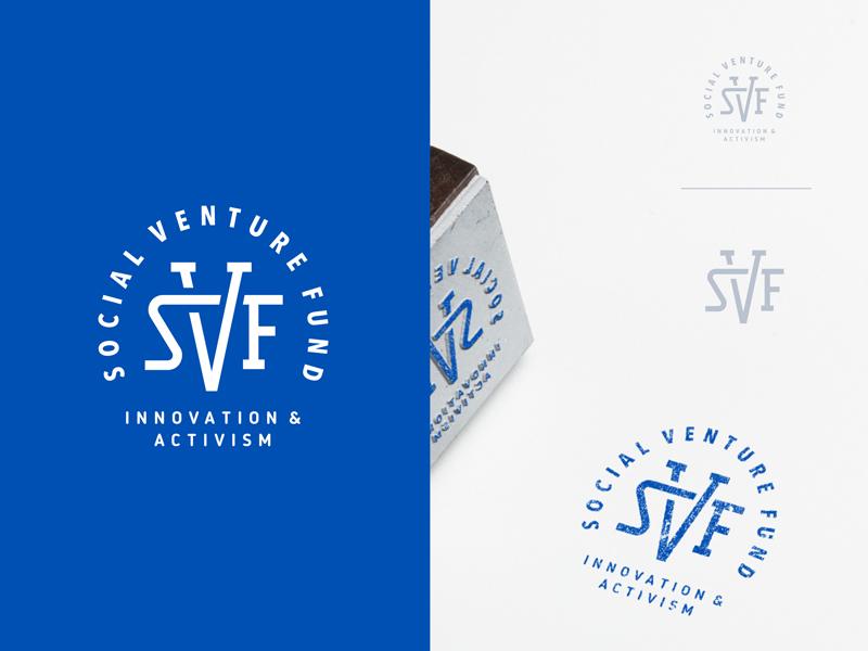 SVF network innovation fund blue cut monoline monogram seal emblem crest open logo