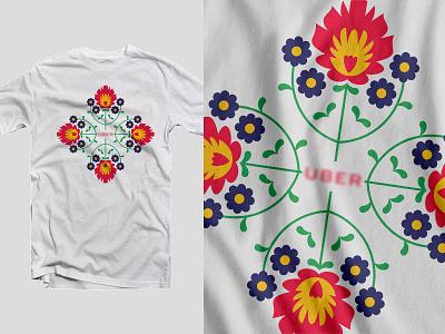 UBER > Poland pattern poland folklore tradition flower floral ornament nature illustration t shirt uber