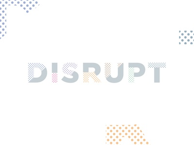 Disrupt event future colorful typography dot conference technology disrupt logotype logo