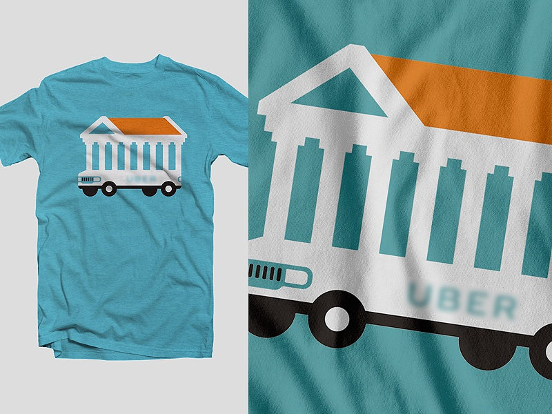 UBER > Athens pillar greece athens tradition bus car building parthenon illustration t shirt uber