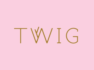 Golden Twig holiday pink gold festive nature tree twig custom lettering typography logotype logo
