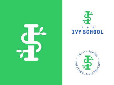 The Ivy School stamp seal plant nature initials pillar ivy kids education learning school logo
