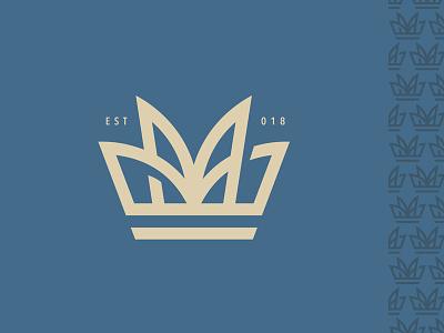 M Crown splash fountain blue pattern monoline shadow initials crown logo