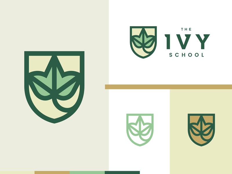 The Ivy School 2 outline kids school instituion education ivy leaf plant nature shield logo
