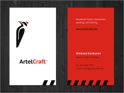 AC Card animal bird woodpecker craft floor wood print card stationery business card