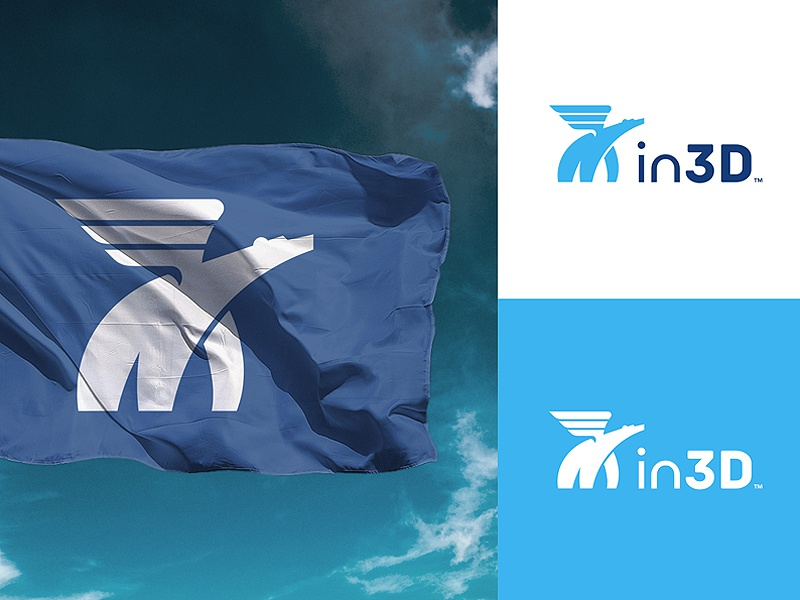 Inspiro3D Brand flag mascot print wings wild bear polar animal inspiration 3d logo
