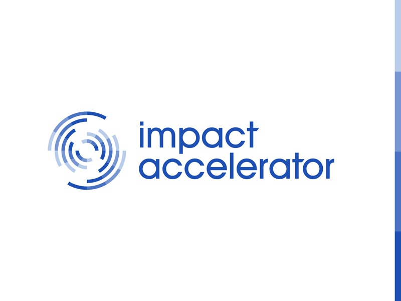 ImpAc blue financial support network change speed accelerator circle line swirl abstract logo