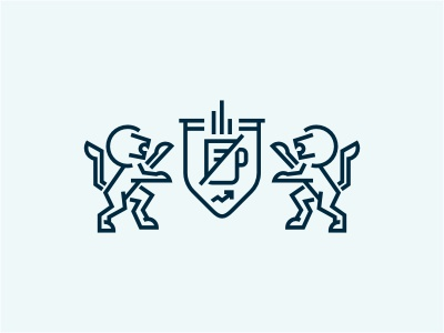Coat of Arms Final coat of arms crest emblem lion animal line monoline blue arm financial upscale office mug graph chart wild stats
