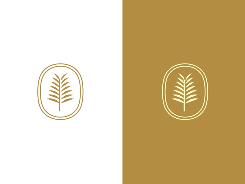 Fern gold shadow enclosure leaf nature plant fern stamp seal design interior logo