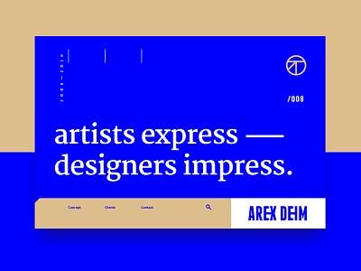 Arex Deim layout ideal motto phrase belief blue web typography
