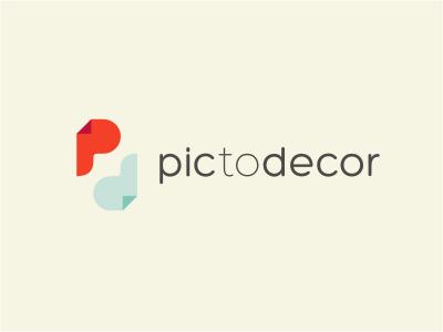 PTD fold logo sticker decor pic initials red blue beige printing photo pattern