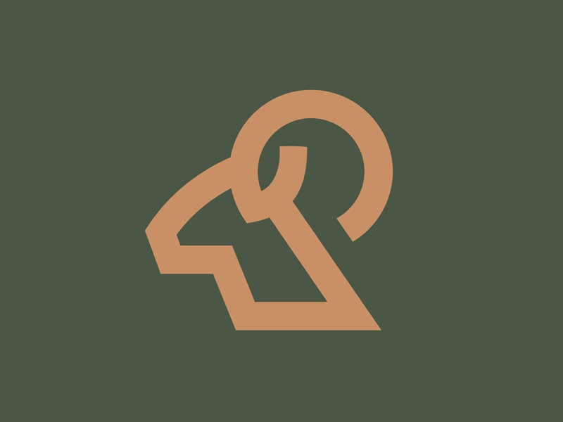 Ramz mountain monoline gold green equipment sports outdoor ram nature wild animal logo
