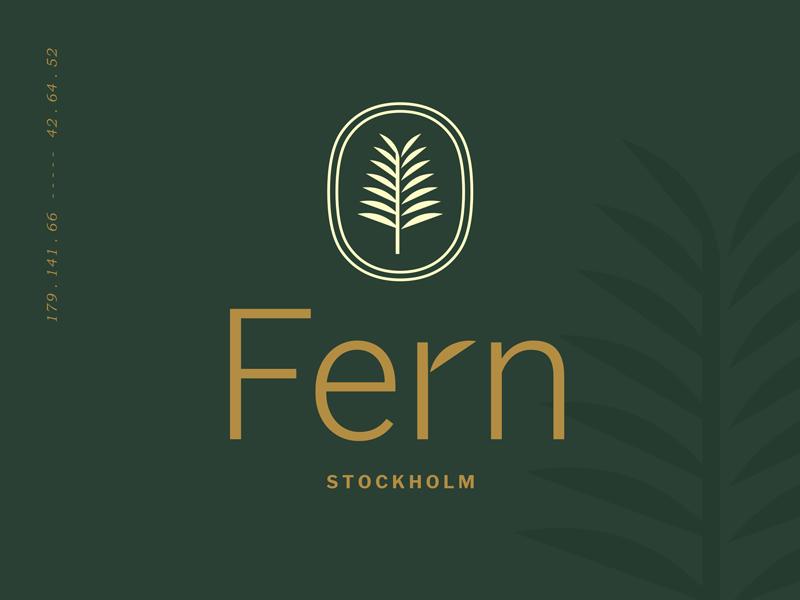 Fern Stockholm gold shadow enclosure leaf nature plant fern stamp seal design interior logo
