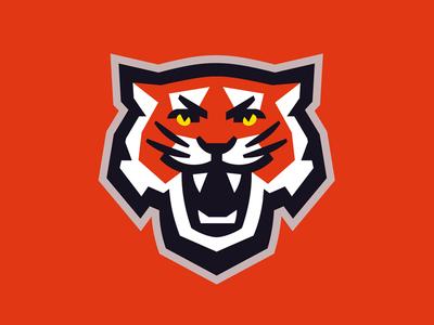 Tigers geometry orange roar head sports mascot tigers tiger cat wild animal logo