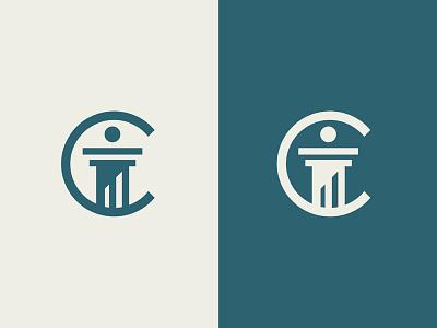 C-Law column attorney money pillar crypto coin financial agency firm law logo