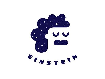 Einstein head negative mustache star albert einstein universe space relativity vision dream logo